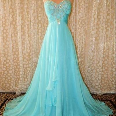 Women's Long Blue Chiffon prom Dres..