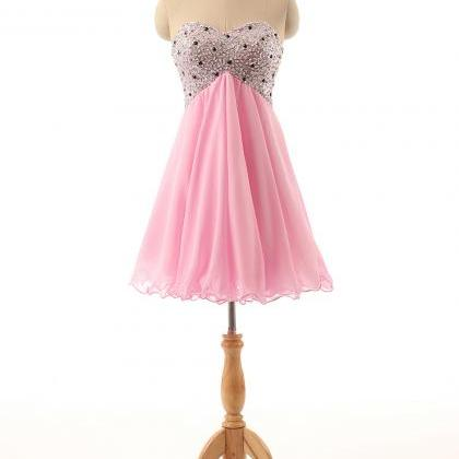Pink Short Chiffon Homecoming Dresses Crystals Beaded Party Dresses