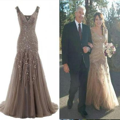 Mermaid Tulle Gray Prom Dresses Cry..