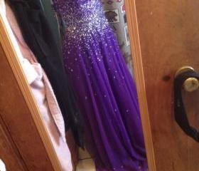 Shinning Crystals Long Chiffon Prom Dresses, A-line Party Dresses