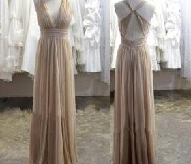 V-neck Long Chiffon Pleat Prom Dresses Sexy Backless Party Dresses