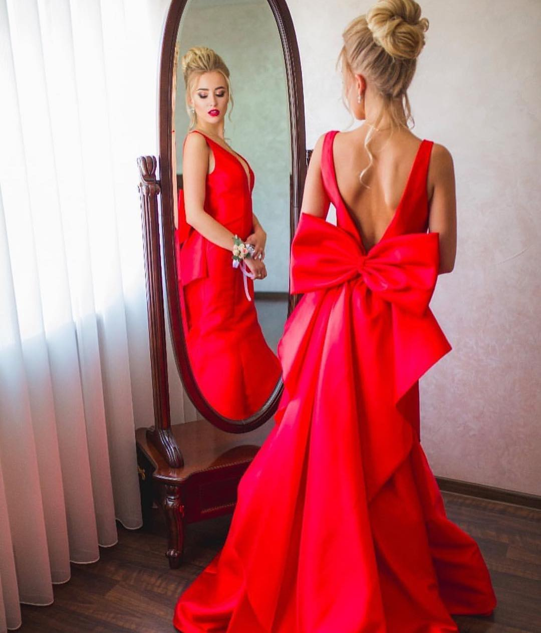 Open Back Prom Dress, Red Prom Dress, Bow Tie Prom Dress, Red Evening Dress 2019