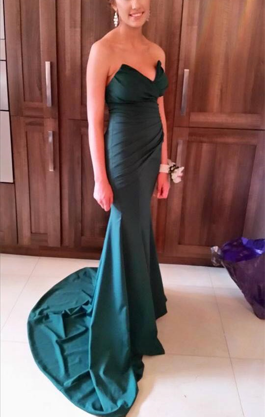 Mermaid Prom Dress, Long Satin Prom Dress, Floor Length Satin Dress, Strapless Women Dress, 2019
