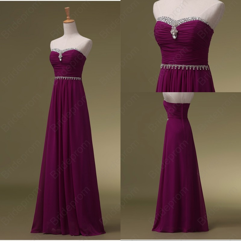 Strapless Long Chiffon Purple Prom Dresses Beaded Women Party Dresses