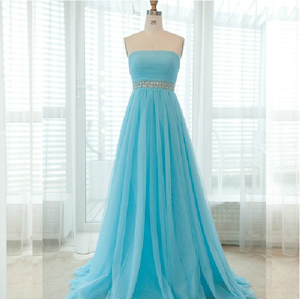Custom Made Crystal Embellished Strapless Bandeau Neckline Chiffon Floor-Length Gown, Prom Dress, Evening Dress