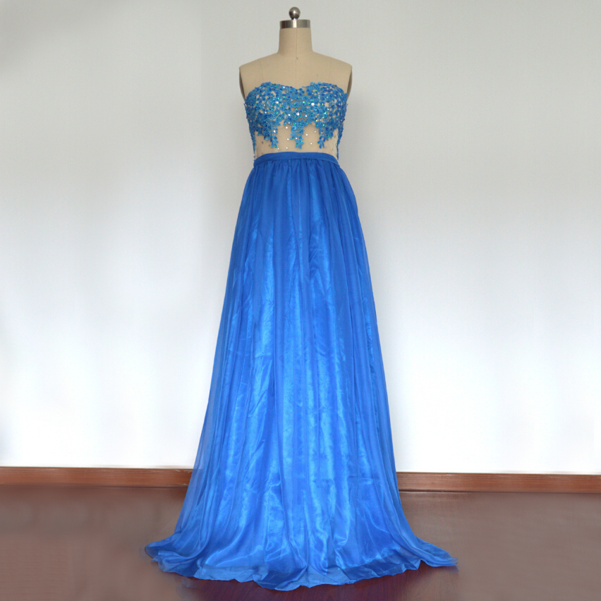 Custom Made Blue Sweetheart Neckline Lace Applique and Sequin Embellished Chiffon Evening Dress, Prom Dresses, Wedding Dresses
