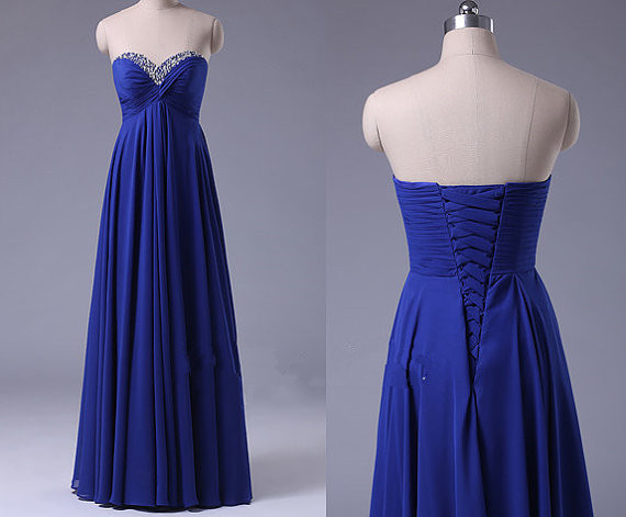 Sweetheart Neck Long Chiffon Prom Dresses Floor Length Beaded Royal Blue Party Dresses