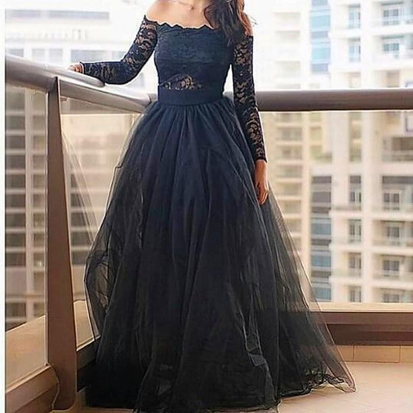 Off the Shoulder Long Sleeve Prom Dresses A-line Floor Length Party Dresses