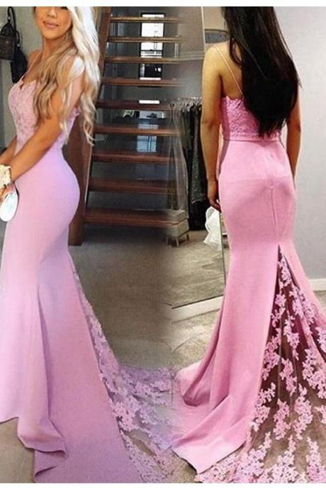 Mermaid Pink Satin Prom Dresses Lace Floor Length Women Dresses