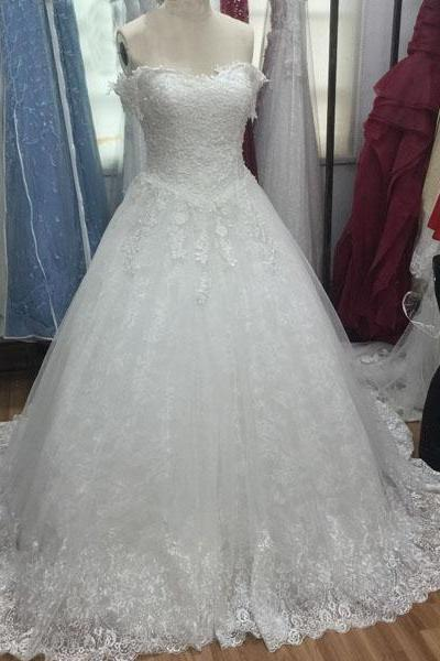 White Tulle and Lace Wedding Dresses Sweetheart Neck Women Bridal GOwns