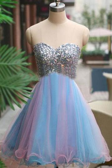 Above Knee Mini Tulle Prom Dresses, Sweetheart Neck Crystals Prom Dresses