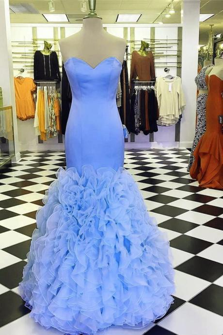 Sweetheart Neck Mermaid Ruffle Prom Dresses