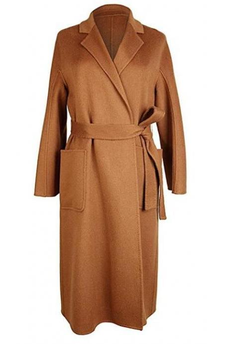 Women's long cashmere outwear oversized belted coat Hand-made tailor made