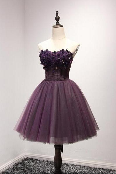 Sweetheart Neck Short Tulle Prom Dresses Lace Appliques Women Dresses