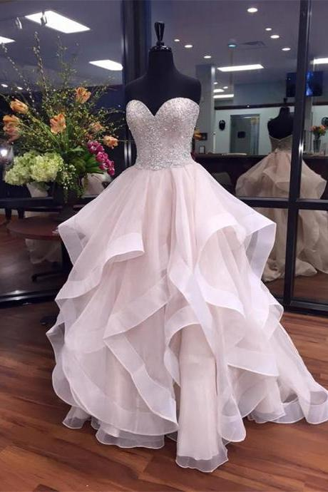 Ruffle Tulle Prom Dresses Sweetheart Neck Crystals Women Dresses