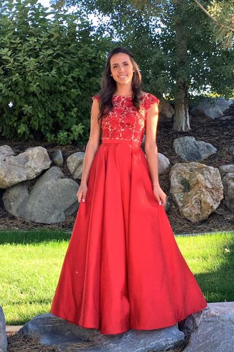 Scoop neck Long Red Satin Prom Dresses Lace Appliques Women Dress