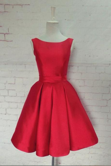 Scoop Neck Red Satin Prom Dresses Women Party Dresses