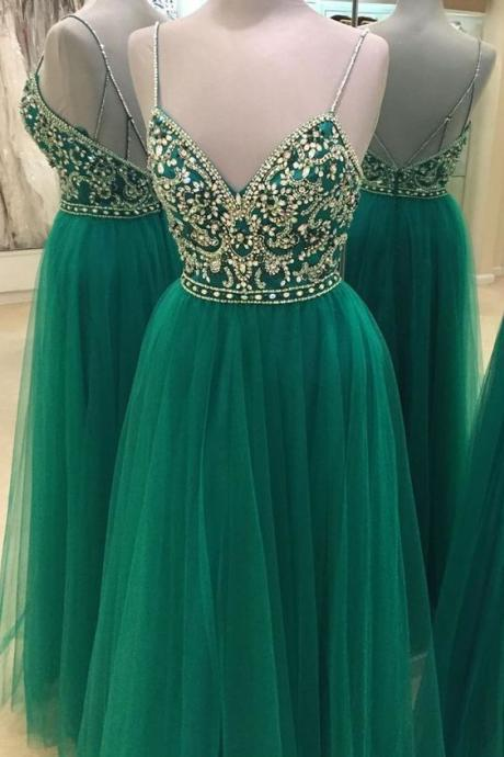 Spaghetti Straps A-line Tulle Prom Dresses Crystals Women Dresses