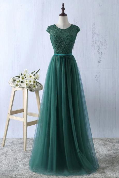 Scoop neck A-line Tulle Prom Dresses Lace Women Dresses