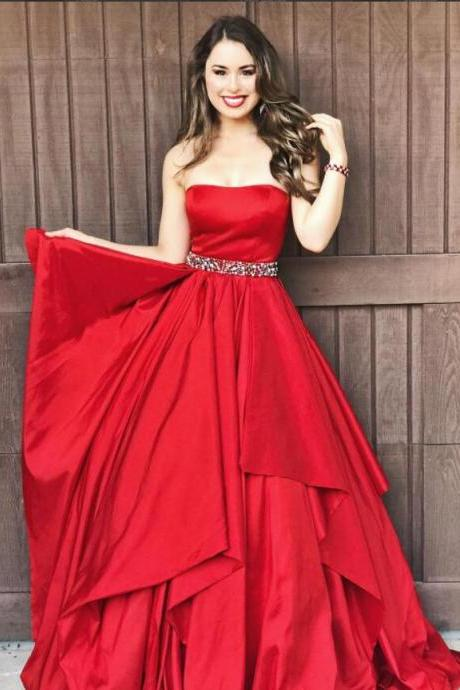 Strapless A-line red Satin prom Dresses Crystals belt Women Dresses