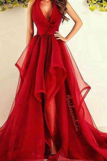 V-neck Long Tulle Prom Dresses Red Charming Women Party Dresses