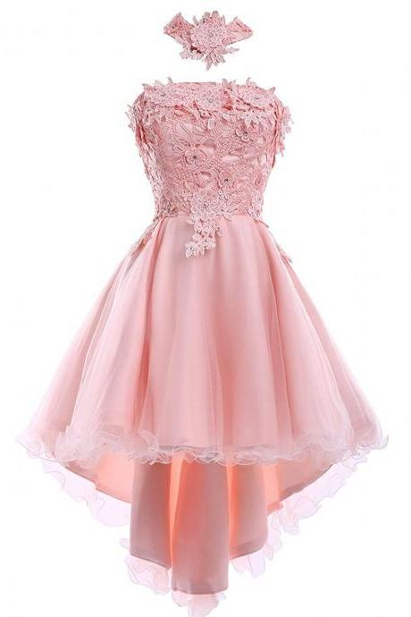 Strapless A-line Short pink Tulle Prom Dresses Lace Appliques