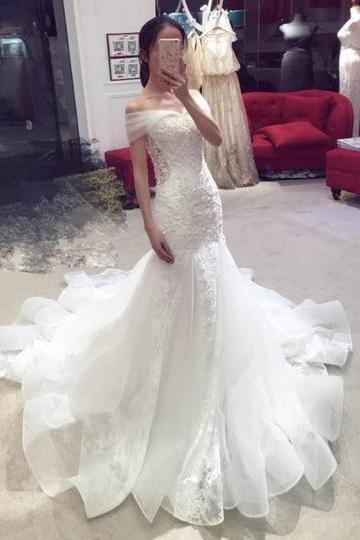 Off Shoulder Mermaid Organza Wedding Dresses Lace Women Bridal Gowns