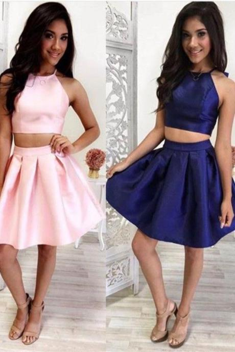 2 Pieces Short Satin Homecoming Dress AF062560