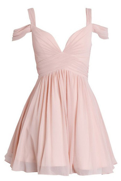 Above Knee Mini Chiffon Pink Homecoming Dress straps