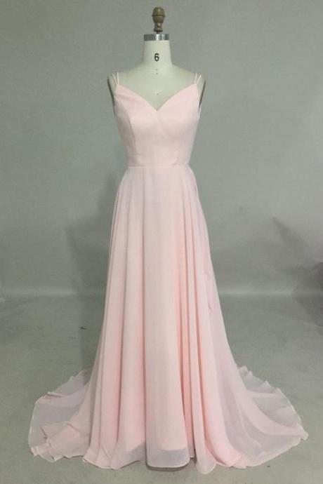 V Neck Long chiffon Prom dress Spaghetti Straps Pink Women Party Dress AF062714