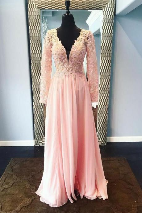 Long Sleeves Chiffon Pink Prom Dress V Neck Lace Appliques Dress