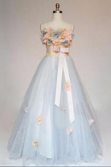 Sweetheart Neck Long Tulle Prom dress Flower Appliques Women Party Dress Af451