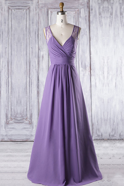 Women's V Neck Long Chiffon Purple Prom Dress Strapless Women Party Dress