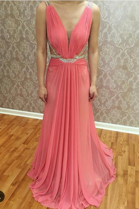 Deep V Neck Long Chiffon Prom Dress Pleat Beaded Women Party dress Af745