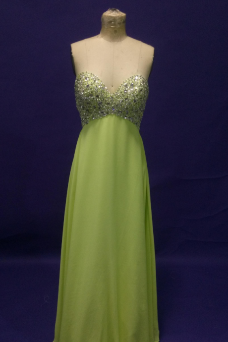 Strapless A-line Light Green Chiffon Prom Dress Beaded floor Length Long Women Dress