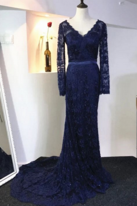 Navy Blue Long lace Prom Dress V Neck Women Party Dress