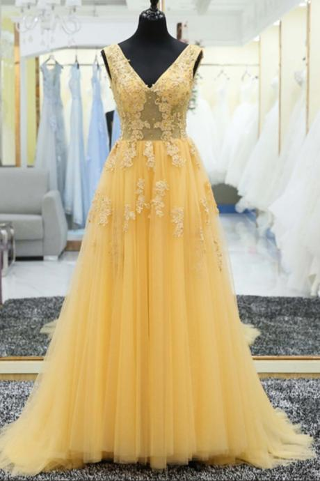 V Neck Long Tulle Prom Dress Lace Appliques Floor Length Women Dress