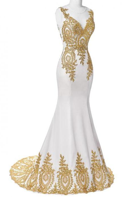 Scoop Neck Mermaid Chiffon Prom Dress Golden Appliques Formal Dress