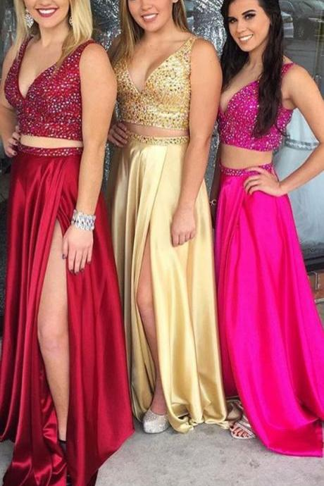 2018 New Fashion 2 Pieces Long Red Satin Prom Dress V Neck Beaded Floor Length