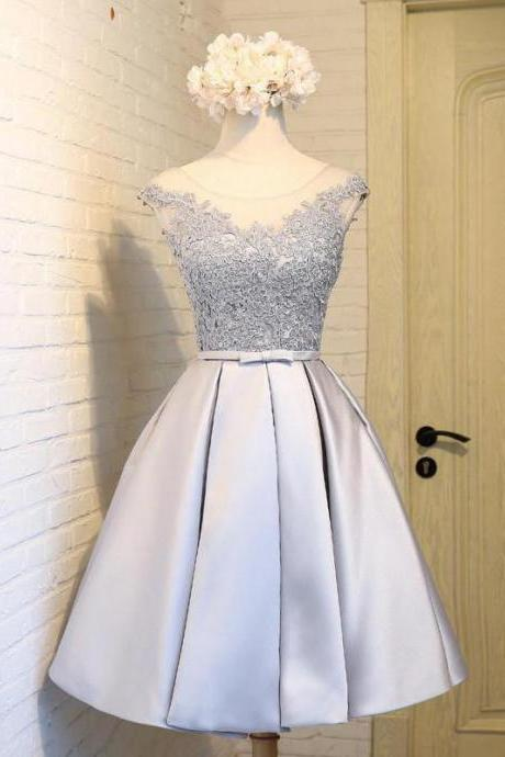 Scoop Neck Light Blue Satin Homecoming Dress Lace Short Women Dress