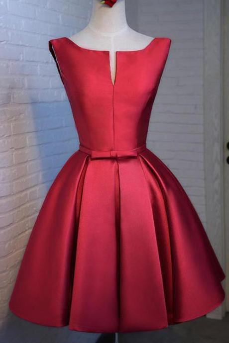 Scoop Neck Red Satin Homecoming Dress