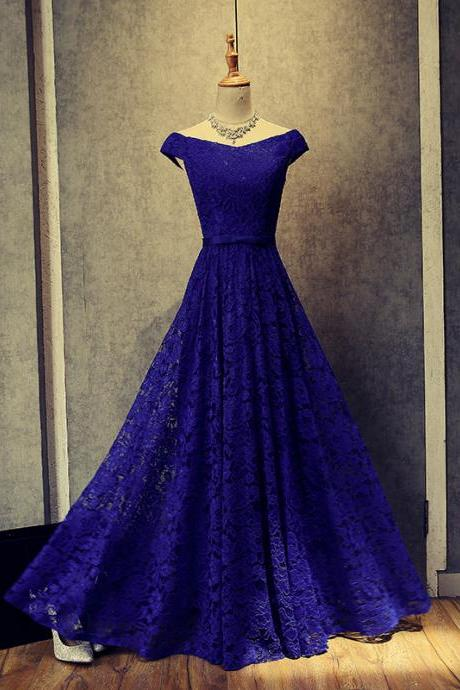 Royal Blue Full Lace Off the shoulder Prom Dress Lace-up Floor Length A-line Evening Dress