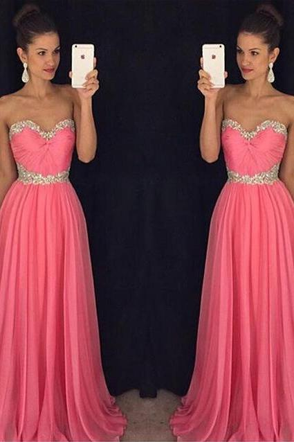 Strapless A-line Long Chiffon Prom Dress Beaded Pleated Women Dress