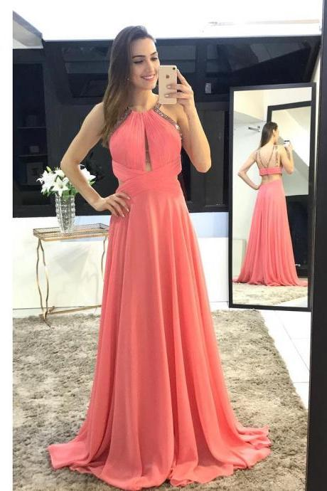 Halter Neck A-line Chiffon Prom Dress Pleated Floor Length Women Dress