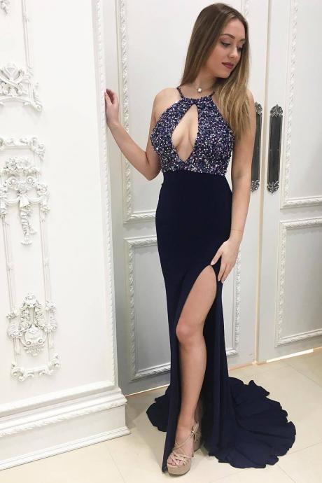 Navy Blue Prom Dress, Halter Prom Dress, Beaded Prom Dress, Fashion prom Dress, Slit Prom Dress, Beaded Evening Gowns 2019