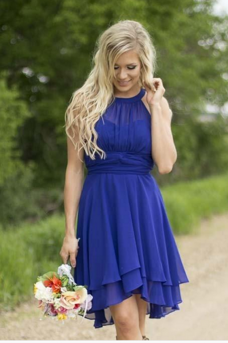 Short Bridesmaid Dress, halter neck royal blue bridesmaid dress, above knee women bridesmaid dress