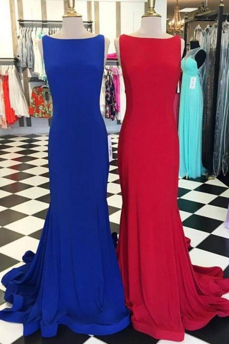 Scoop Neck Prom Dress, Long Prom Dress, satin prom Dress, Floor Length Women Dress,