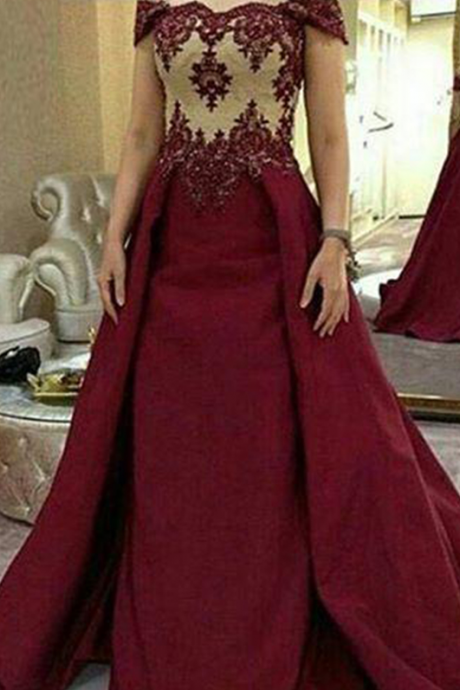 Cap Sleeves Prom Dress, Off the Shoulder Prom Dress, lace Appliques Prom Dress, A-line Prom Dress
