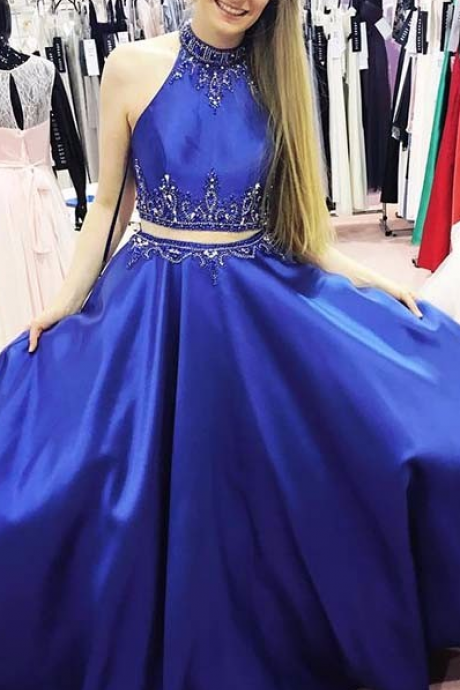 2 Pieces Women prom Dress, Royal Blue Prom Dress, beaded Prom Dress, satin prom dress, royal blue evening dress