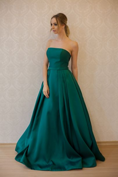 Strapless A-line Long Satin Prom Dress Floor Length Women Evening Gowns 2019